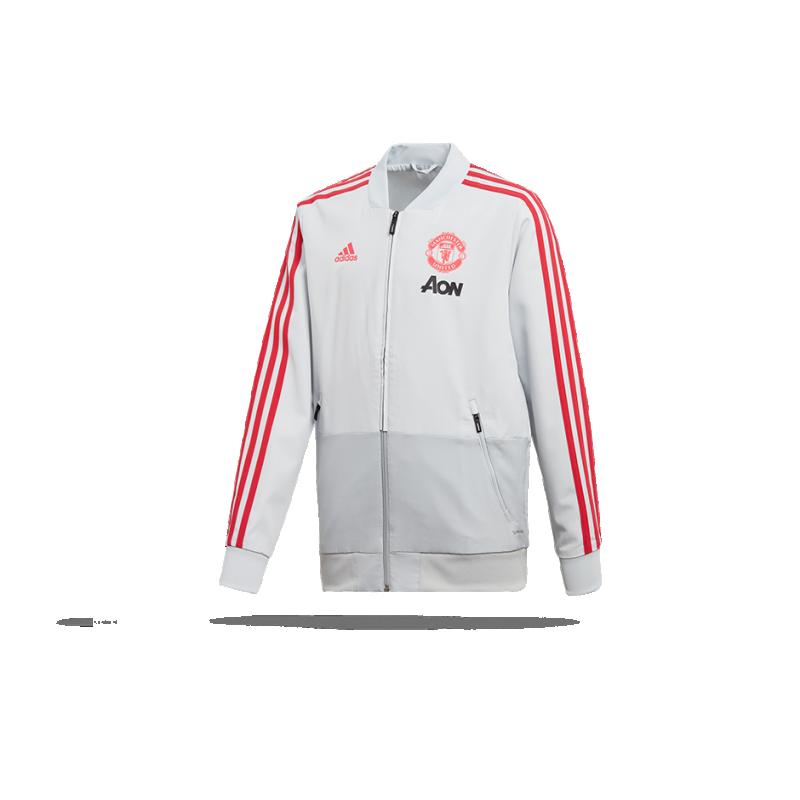 adidas Manchester United Präsentationsjacke Kinder (DP6824) - Grau