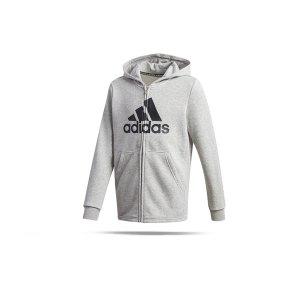 adidas-must-haves-logo-kapuzenjacke-kids-grau-ge0648-fussballtextilien_front.png