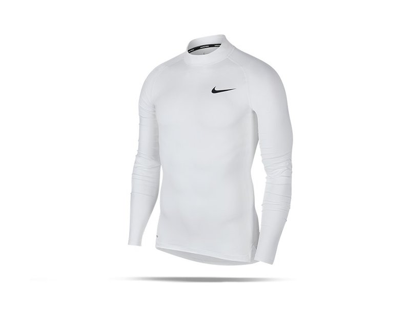NIKE Pro Compression Mock Long Sleeve Shirt (100) - weiss