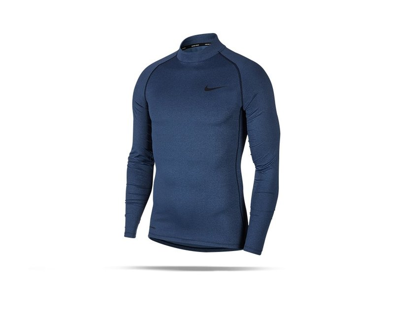 NIKE Pro Compression Mock Long Sleeve Shirt (451) - blau
